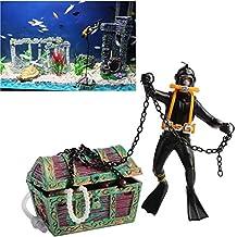 Bestgle New Style Action Aquarium Ornament, Undersea Treasure Chest Diver, Live-Action Aerating Fish Tank Decorations