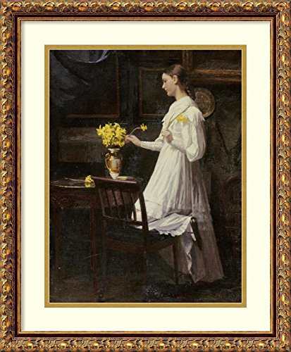 Arranging Daffodils - Framed Wall Art Print | Home Wall Decor Art Prints | Arranging Daffodils by Carl Thomsen | Traditional Decor