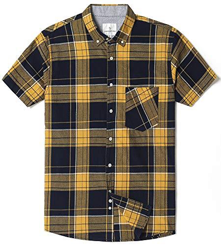 (Chain Stitch Mens Short Sleeve Check Button-Down Collar Casual Plaid Shirt Yellow/Navy Plaid Large)