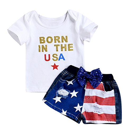 sandals Baby's Suits Born in The USA Letter Print T-Shirt + Pants Newborn Toddler 2pcs (0-12M)