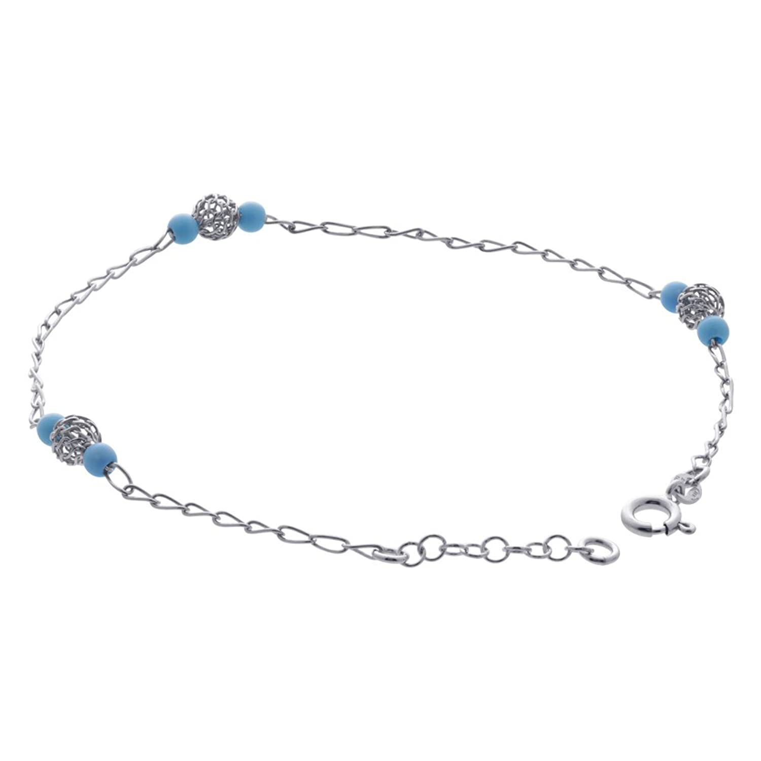 Gem Avenue Sterling Silver 4mm Turquoise Bead Chain Ankle Bracelet 9.5 inch with Extensions