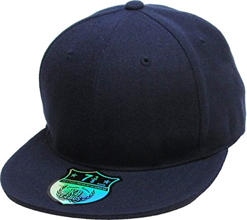 KBETHOS KNW-2364 NAV (7 5/8) The Real Original Fitted Flat-Bill Hats True-Fit, 9 Sizes & 20 Colors Navy