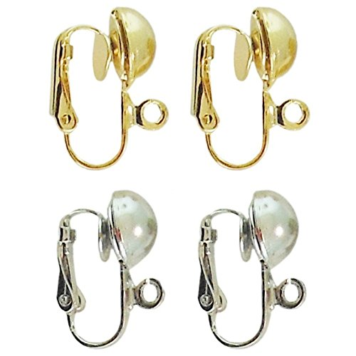 Dangle Clip Converters, 2 Pairs, 1 Silvertone, 1 Goldtone, in Silver Tone with Gold Tone Finish