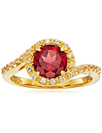 18k Yellow Gold Plated Sterling Silver Round Garnet 7mm and Round Created White Sapphire Halo Ring, Size 7
