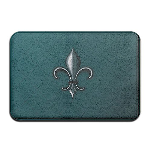 Heraldic Pattern With Fleur De Lis And Crowns Tiara Iris Flowers Coat Of Arms Knigh Mats 3D Printing Doormat Kitchen Front Floor Rug Non Slip Carpets For Bedroom Living Room Kitchen Garden, 2' X 3' (White Transfer Thermal 3')