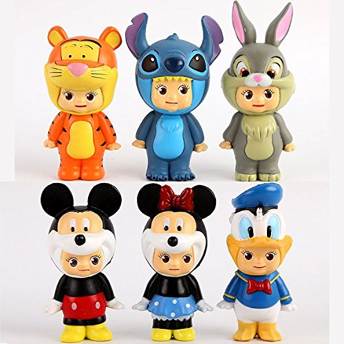 6pcs/lot Sonny Angel Cosplay Duck Tiger Lilo Stitch Pluto Goofy PVC Action Figures Collectible Model Toys Dolls (Lilo And Stitch Dog Costume)