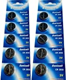 10 x CR2032 3V Lithium Knopfzelle 210 mAh ( 2 Blister a 5 Batterien ) CR-2032 , DL2032 , ECR2032 , L14 , 5004LC , EA-2032C Markenware Eunicell