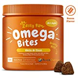 Zesty Paws Omega 3 Alaskan Fish Oil Chew Treats for Dogs - with AlaskOmega for EPA & DHA Fatty Acids - for Shiny Coats & Itch Free Skin - Hip & Joint Support + Heart & Brain Health - Bacon