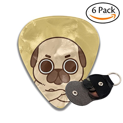 Pugs Leather Pick Holder Keychain - 351 Shape Classic Guitar Picks (6 Pack) For Electric Guitar, Acoustic Guitar, Mandolin, And Bass (0.46mm, 0.71mm, 0.96mm)