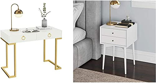 Nathan James Leighton Two-Drawer Home Office Computer Desk Vanity Table