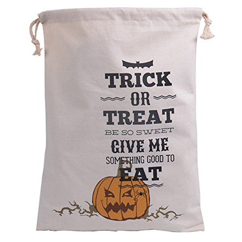 Zehui Halloween Candy Bags Pure Cotton Canvas Bags Beam Port Drawstring Sack Candy Gift Bags 4# ()