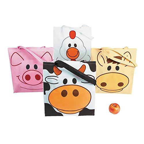 Fun Express - (lg Farm Animal Totes - Apparel Accessories - Totes - Novelty Totes - 12 Pieces ()