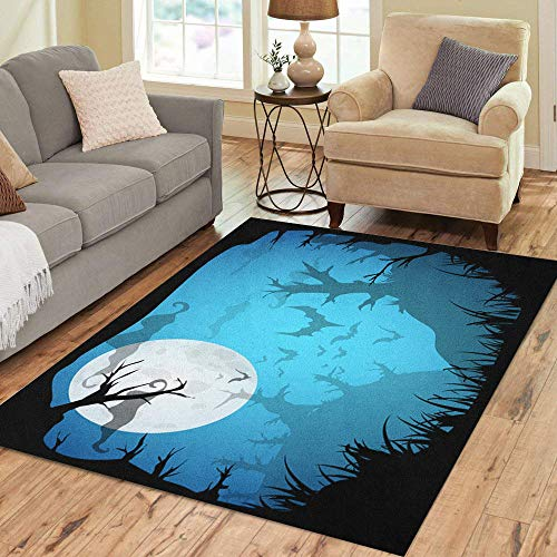 Semtomn Area Rug 2' X 3' Halloween Blue Spooky A4 Border Moon Death Trees Home Decor Collection Floor Rugs Carpet for Living Room Bedroom Dining Room