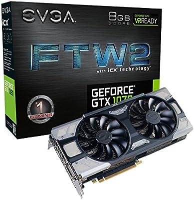 EVGA GeForce GTX 1070 FTW2 Gaming, 8 GB GDDR5, tecnología iCX - 9 sensores térmicos y LED RGB G / P / M, Ventilador Asynch, optimizada para diseño de ...