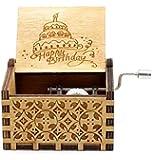 صندوق الموسيقى الخشبي الكلاسيكي الصغير مع اغنية عيد ميلاد سعيد.