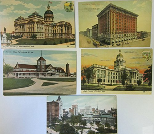 (Vintage Set of Five Location Postcards (Country Club, Parkersburg, WV; Capitol Building, Indianapolis, IN; New York Cityhallpark & Broadway; State Capitol, Lincoln, NB; Hotel Secor, Toledo, OH))