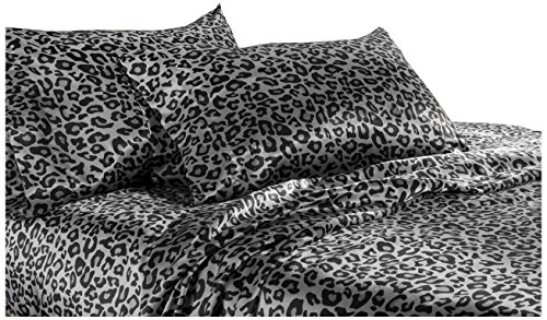 Luxury Satin 100-Percent Poly Solid Sheet Sets, Twin, Snow Leopard (Snow Leopard Bedding)