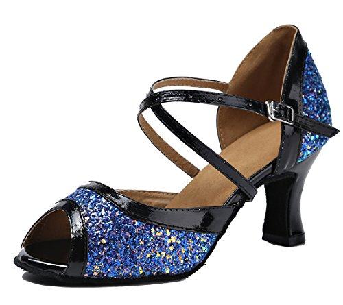 Tda Womens Peep Toe Glitter Cinturino Alla Caviglia Cinturino Da Ballo Tango Latino Ballo Scarpe Da Sposa 7 Cm Blu