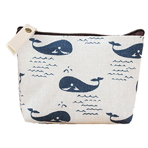 Polytree Printed Canvas Change Coin Purse Holder ()