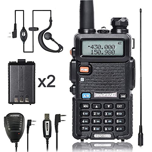 BaoFeng Walkies Talkies UV-5R Dual Band Two Way Radio with one More 1800mAh UV5R Battery one Hand Mic and one TIDRADIO Antenna