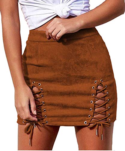 Aliwendy Women Sexy Criss Cross Tight Bodycon High Waist Faux Suede Stretch Mini Skirt(Brown -