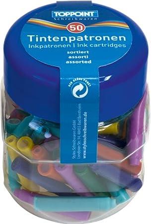 2x 50 Tintenpatronen für Füller im Glas Kunststoffbox blau Federhalter Tinte Ink
