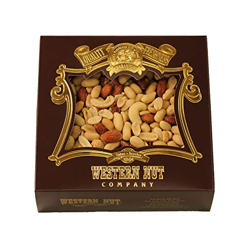 (Western Nut Heritage Gift Box, Gift Wrapped Roasted & Salted Delight Mix, 1 lb)