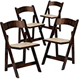 Flash Furniture 4-XF-2903-FRUIT-WOOD-GG HERCULES Series Fruitwood Wood Folding Chair with Vinyl Padded Seat (4 pack)