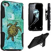 Alcatel IDOL 5 Case, Alcatel Nitro 5 Case, DuroCase Hybrid Dual Layer Combat Armor Style Kickstand Case w/ Holster for Alcatel Idol 5 6060C / Alcatel Nitro 5 - (Sea Turtle Floral)
