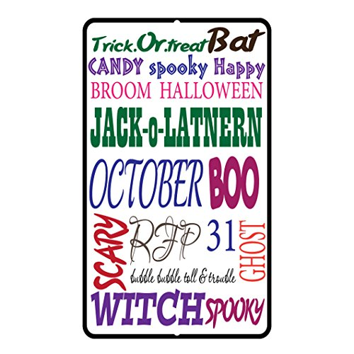 Trick Or Treat Bat Candy Spooky Halloween style 2 Novelty Funny Metal Sign -