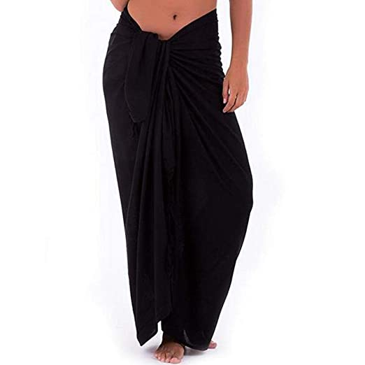 214a70554eec5 Womens Beach Long Sarong Pareo Chiffon Swimwear Solid Color Cover up  Swimsuit Wrap (Black