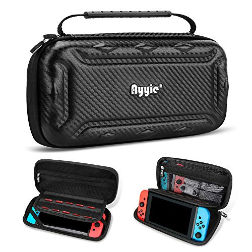 Ayyie Carry Case for Nintendo Switch, Switch Case Portable Travel Protective Messenger Bag Soft Lining 15 Games for Nintendo Switch Console & Accessories(Carbon Fiber)