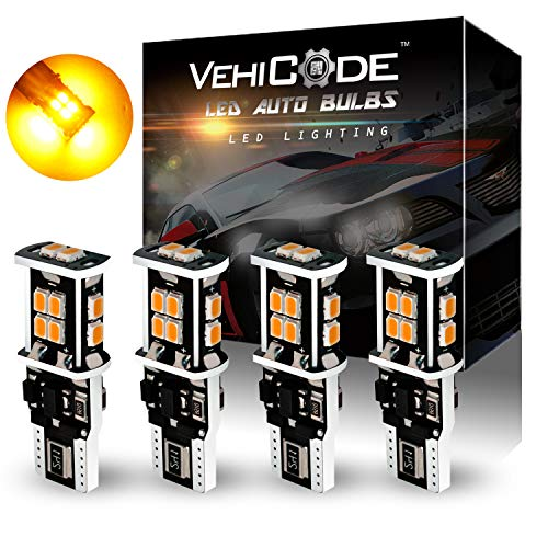 VehiCode 900lms 194 168 W5W 2825 906 T10 Wedge Daylight Trunk Side Marker License Plate LED Light Bulb (Amber Yellow Orange) 921 912 T15 W16W Reverse RV CanBus Error Free Replacement (4 Pack)