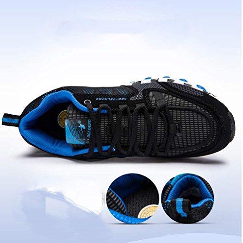 LFEU Homme Chaussure de Basket-Ball Sport D'Air Chaussure de Course Running Athlétique Jogging Gym Fitness Maille Respirent Sneakers Confortable 36-48 noir bleu dGVWNLVa