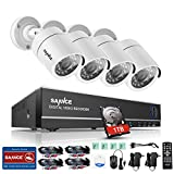 SANNCE AHD/TVI/CVI/CVBS/IP 5-in-1 1080N 8CH CCTV DVR Recorder with 4*720P Weatherproof Indoor/Outdoor Night Vision Cameras Video Security System (1T HDD)