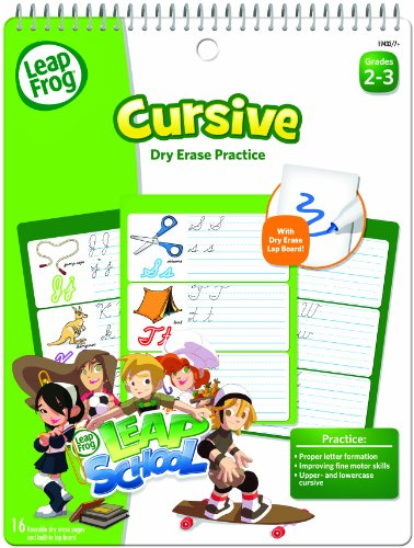 LeapFrog LeapSchool Cursive Dry Erase Practice Workbook for Grades 2-3 with 16 Flexible Pages ()