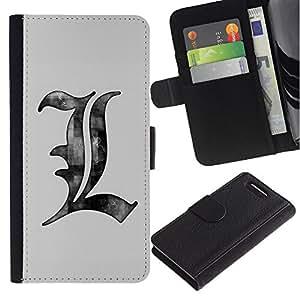 KingStore / Leather Etui en cuir / Sony Xperia Z3 Compact / Dibujo Cartas Lápiz Arte Gris Blanco