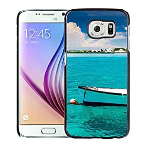 New Beautiful Custom Designed Cover Case For Samsung Galaxy S6 With Nature Calm Ocean Boat Phone Case