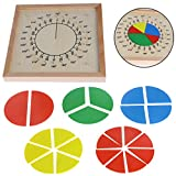 Shoresu Baby Education Toys Montessori Mathematics Counting Material Wooden Circular Fractions Scoreboard Kid Educational Toy