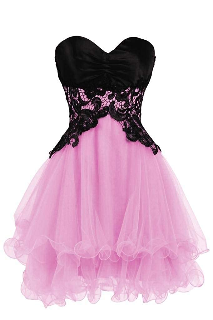 Blevla Sweetheart Tulle Short Prom Dress Cocktail Party Homecoming Gown