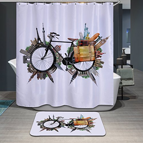 Waterproof Polyerster Shower Curtain Bicycle Size Width X Height 72 80 Inches