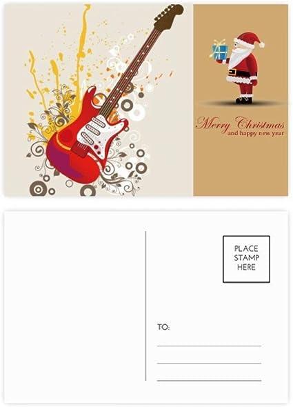 Juego de postales de Santa Claus para guitarra eléctrica Jazz con ...