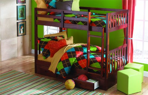 Merlot Twin Twin Mission Bunk w/ 3 Drawers: Desk, Hutch & Chair, Entertainement Dresser