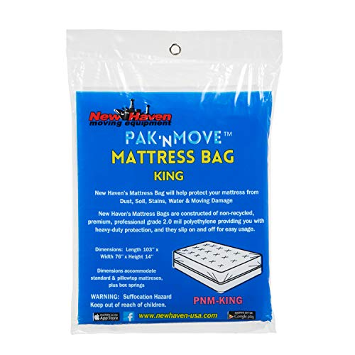 New Havens Moving Equipment PaK-N-Move King Size Mattress Cover for Storage & Moving   76X14X103   Superior Protection   Polyethylene 2 ML Used by Professional Movers