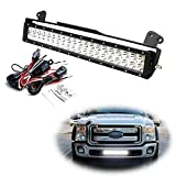 iJDMTOY Lower Grille 20-Inch LED Light Bar Kit For 2011-16 Ford F250 F350 Super Duty, Includes (1) 120W High Power LED Lightbar, Lower Bumper Opening Mounting Brackets & On/Off Switch Wiring Kit