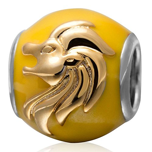 Choruslove European Leo Zodiac Charms Yellow Enamel Beads with Gold Plated for Custom Bracelet