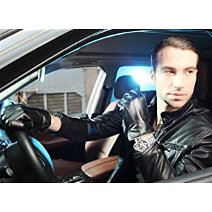 Luxury Men's Touchscreen Texting Winter Italian Nappa Leather Dress Driving Gloves (Cashmere or Wool Lining) (8.5 ( US Standard Size ), Black (Cashmere Lining ))