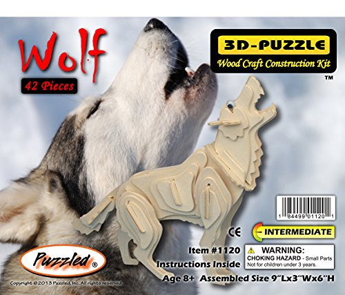Puzzled Grey Wolf 3D Woodcraft Construction Kit (Construction Woodcraft Kit)