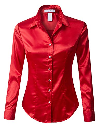 RK RUBY KARAT Womens Long Sleeve Satin Blouse with ()