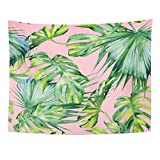 TOMPOP Tapestry Pink Leaf Watercolor of Tropical Leaves Dense Jungle Hand with Tropic Summertime Design Colorful Palm Home Decor Wall Hanging for Living Room Bedroom Dorm 60x80 Inches